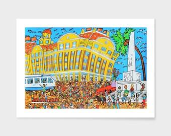 City art.  Amsterdam, hippies on Dam Square. De Bijenkorf. High-end department store. Giclée print on archival paper. Original artwork.