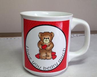 Vintage Mug I Love You BEARY Much Heart Bear 1980s