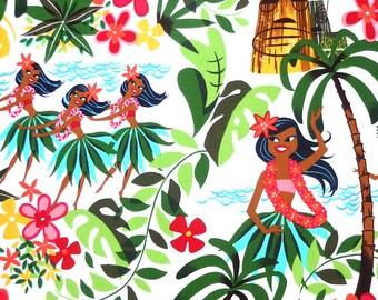 Alexander Henry Leis, Luaus and Alohas - Hawaiian Tiki Hula Girl Fabric - White - Per 1/2 metre - 100% Cotton