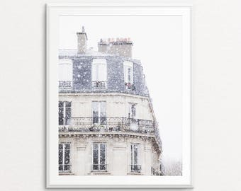Snowfall in Paris Photo - Paris Photography, Paris Print, Paris Bedroom Decor, Paris Home Decor, Paris Decor, Paris Wall Art