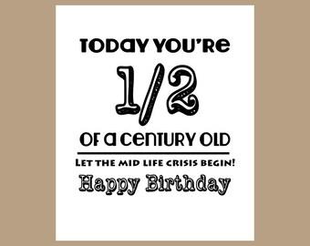 50th Birthday Card, 1/2 Century Old Card, Milestone Card, 1967 Birthday Card, Dad Birthday Card, Mid-Life Crisis, Funny 50th Birthday Card