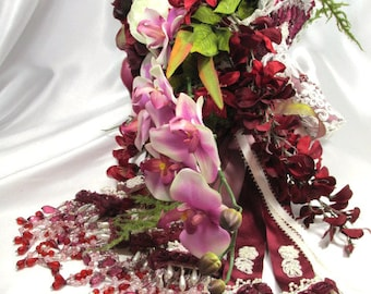 Mulberry Memories Large Heavily Beaded Cascading Bridal Bouquet in Burgundy, Purple, Cream and Marsala Dark Red - Ready to Ship