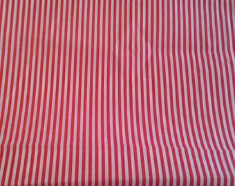 Red and White Striped Cotton Polyester Blend Fabric 1 1/2 Yards X1125