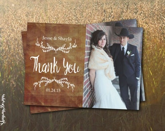 Rustic Wedding Thank You Printable // Thank You Photo Card // Vintage Wedding Thank You Template // Instant Download