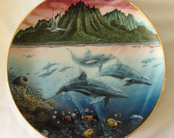 "1991 Danbury Mint Collector Plate Underwater Paradise ""Hawaiian Muses"""