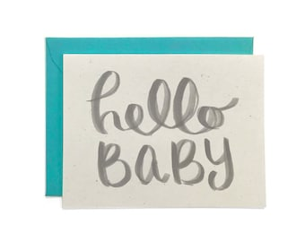 NEW  |  Hand Lettered New Baby Card, Recycled Baby Card, Welcome New Baby Card, Hello Baby Card