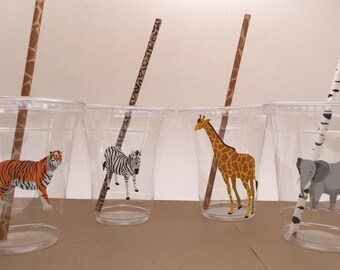 Safari Party Supplies: Safari Plastic Cups with Straws, Zoo Animal Party Cup, Safari Party Cup