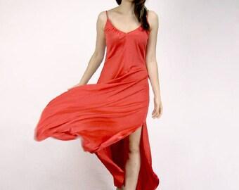 Red Minimalist Dress 70s Long Dress Vintage V Neck Simple Sundress - Small S