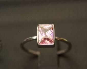 Pink Tourmaline Ring, October Birthstone Ring, Princess Cut Ring, Pink Tourmaline Jewelry, Customized Ring, Customized Jewelry, Silver Rings
