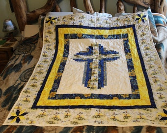 Cross, Quilt, lap, twin, babe , kid,  60 Long 48.5 wide ( Mothers Day Gift)