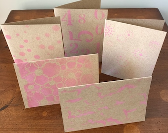 Pack of 5 Pink Greeting Cards -A6 - Blank Inside - Pink Envelopes