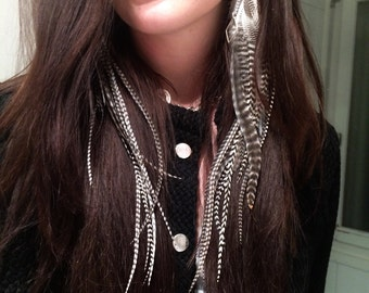 Feather Earrings- Long Black & White Grizzly Striped feathers with Silver Cones, Chains and Diamond Charms topped w Crystal beads