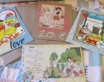 Lot TWO Vintage Style Handmade Valentines 4 Cards with Envelopes