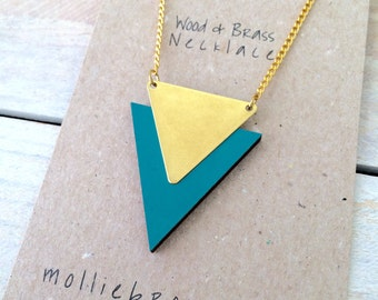 Triangle Necklace Geometric Necklace Triangle Jewellery Geometric Jewellery Jewelry, Gifts for Her , Wooden Laser cut Jewellery - Turquoise