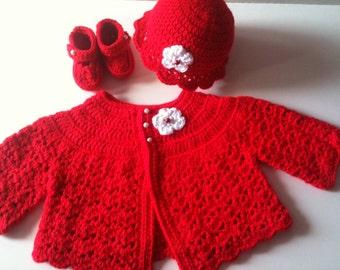 Crochet Baby Sweater Hat Booties Set - Red
