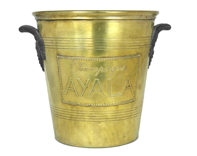 French Champagne Bucket. Ayala Champagne Chiller. Argit Ice Bucket with French Advertising. Antique Bar Decor.