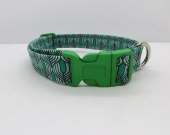 Green Art Deco Dog Collar