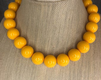 Statement Necklace, Mustard Yellow, Big Necklace, Beaded, Round Bead Necklace, Big Bead Necklace, Chunky Necklace, Yellow Necklace