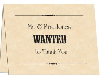 Wanted Poster Printable Wedding Thank You Cards