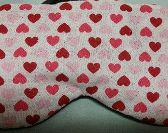 Eye Mask for Sleeping, Valentines Day, Kids or Adults, Eye Shade, Sleep Blindfold, Slumber Mask, Heart Design, Handmade