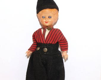 Vintage Collectible Doll - Boy in hat - hard plastic doll