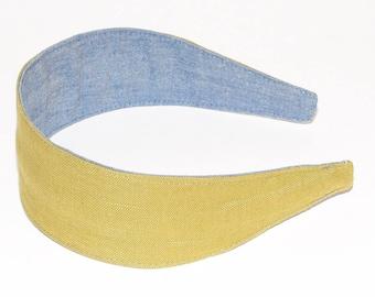 REVERSIBLE Olive Green Linen Comfort Fit Fabric Headband