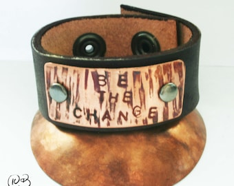 Be the change leather and copper bracelet 5-6 inch wrist