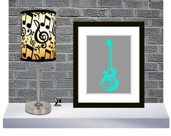 Modern Guitar Art Print, Gibson guitar - Music Room Wall Decor