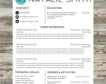 Resume Template   Microsoft Word Instant Download with Cover Letter and References   Natalie Design   Professional and Creative Resume
