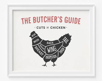 Chicken Print, Butcher Guide, Chicken Butcher Guide, Kitchen Art, Home Decor, Chicken Wall Art, Chicken Decor, Fathers Day Gift
