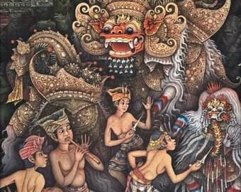 "Barong Dance Calonarang Balinese Traditional Painting 23.5""x19.5"" Acrylic on Canvas Original Hand Painted By Artist Ubud Bali Art"
