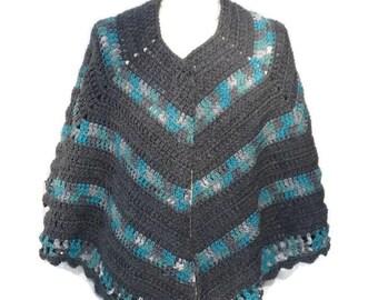 Crochet Poncho Open Poncho Shawl Crochet Handmade Crochet Cape Wrap Poncho Gift for Mom Gift for Her