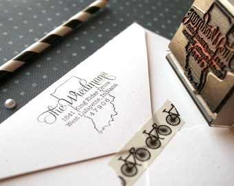 State Return Address Stamp Housewarming Gift Personalized Gift Custom Rubber Stamp State Address Stamp Custom Stamp Wedding Stamp Self Ink