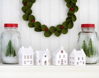 DIY Putz Village Christmas Decorations DIY Christmas Putz House Kit Glitter House Christmas Ornaments DIY Kit Christmas Crafts Mantle Decor