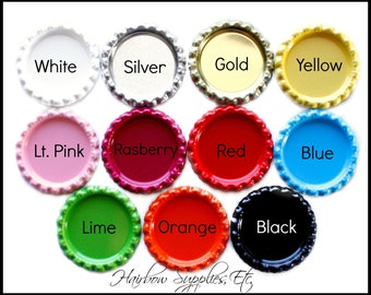Flattened Bottle Caps Solid Colors 1 inch - Bottle Cap Jewelry, Bottle Cap Crafts, Bottle Cap Magnets - Hairbow Supplies, Etc.