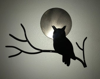 Owl Silhouette With Moon Wall Hanging