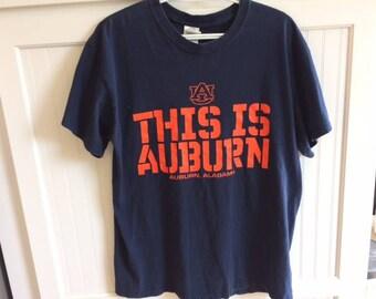 auburn university t shirt size large vintage