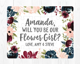 Flower Girl Proposal Puzzle Flower Girl Proposal Card Ask Flower Girl Proposal Gift Will You Be My Flower Girl Puzzle Proposal Pink Cute