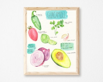 Guacamole Print - Watercolor Avocado Print - Avocado Wall Print - Guacamole Wall Print - Recipe Art Print - Recipe Print - Gift for Foodie