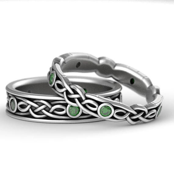 RESERVED FOR dulcimergecko Celtic Wedding Ring Set With Infinity Symbol Pattern With Emerald Stones in Sterling Silver Custom Made 1197 1194