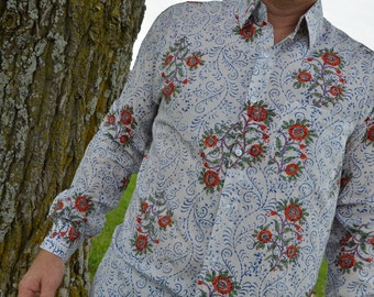 Men's Lightweight Hand Block Printed Indian Cotton Long Sleeve Button Down Shirt - White Floral - Regular or Long Arm Tall Champei I876/J978