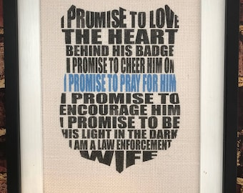 Police Wife Canvas Print Rustic Home Decor Wife of a Police Officer Thin Blue Line LEO Wife Law Enforcement Wife Police Officer Burlap Print