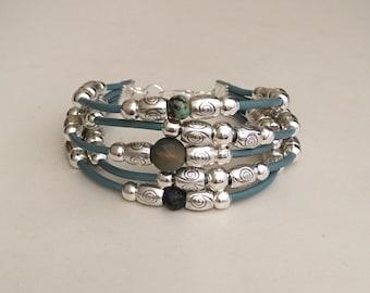 Leather bracelet Women's leather bracelet Boho bracelet Bohemian jewelry Beaded bracelet Fashion jewelry Gemstone bracelet