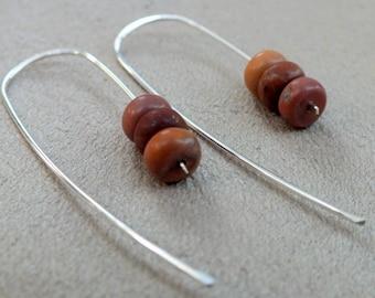 Picasso Jasper Sterling Silver Earrings. Handmade Hammered Sterling Silver Earrings. Silver Modern Earrings.