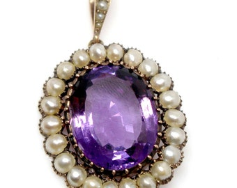 14k Yellow Gold pendant oval amethyst and pearls vintage