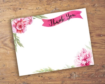 Printable Pink Peonies Thank You Note- Companion to Pink Peony Shower Invitation- Watercolor Notecard Design, Customizable