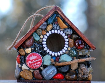 Fathers Day Birdhouse with Budweiser beer caps, Mosaic stone Birdhouses a perfect gift for him, red birdhouse, red mosaic, bird lover