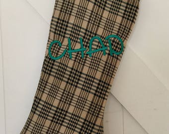 Equestrian Inspired Personalized Baker Plaid Christmas Stocking