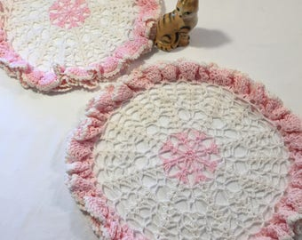 Pink crocheted doilies - set of 2 baby pink and cream doilies - vintage crocheted doilies - vintage doilies - baby girl - bridal shower
