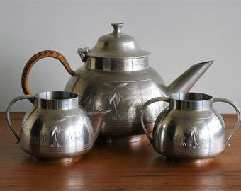 Pewter teapot, sugar and creamer / pewter tea set / afternoon tea service